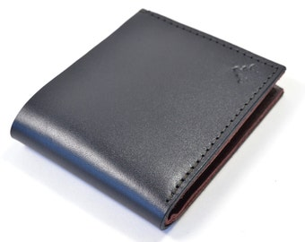 Black Bridle Leather Bi Fold Six Card Wallet Handmade