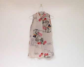 Vintage 1990s Soft Rayon 1768 Letter Print Collared Sleeveless Top