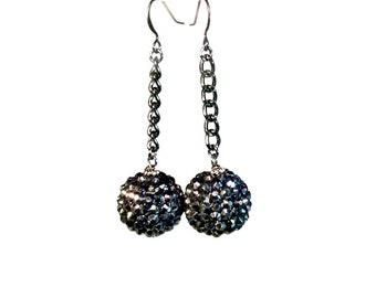 Super Sparkly Earrings, Black Dangle Earrings, Bauble, Retro, Rockabilly Jewelry