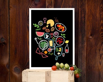 """Picnic is a state of mind 11""""x15"""" Foodie Print - archival fine art giclée print"""