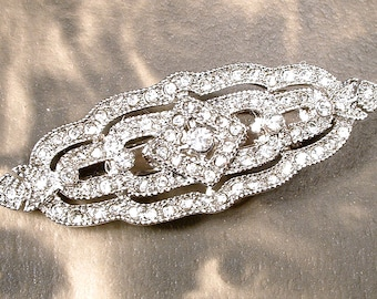 Bridal Hair Barrette Clip, Art Deco 1920s Vintage Wedding Silver Rhinestone
