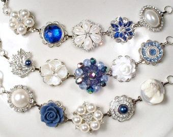 OOAK Navy Blue Bridesmaid Bracelet Set 3 4 5 6 7 8 9, Silver Rhinestone & Pearl Sapphire Bridesmaid Gifts, Vintage Wedding Earring Bracelet