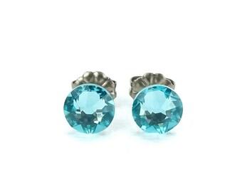 Titanium Stud Earrings Light Turquoise Swarovski Crystal Titanium Earrings, Aqua Blue Nickel Free Post Earrings, Hypo Allergenic Studs