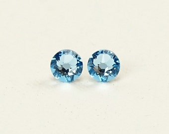 Aquamarine Titanium Post Earrings, Nickel Free Blue Swarovski Crystal Studs, Titanium Posts for Sensitive Ears, Hypoallergenic Jewellery