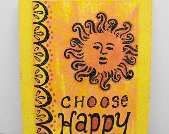 Wall Art Quote Frame - Choose Happy - yellow orange black sunshine sunny canvas