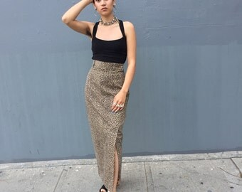 90s Leopard Denim High Waist Skirt 4 Small