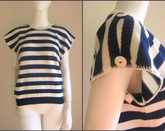 70s 80s vtg striped nautical top