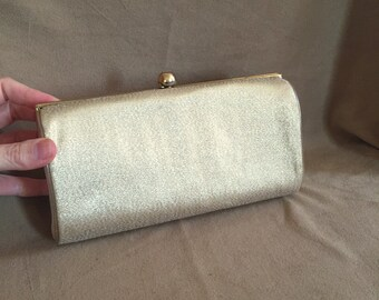 Gold Vintage Clutch Evening Bag, Shiny Metallic Gold Lame Fabric Purse, with Wrist Chain, 50's 60's