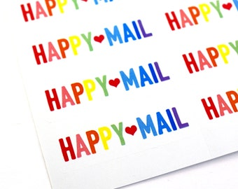 30 large BOLD Rainbow HAPPY MAIL stickers with red heart - packaging, penpal letters, stationery