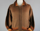 Vintage 90s Women's Brown Hippie Zig Zag Tribal Design Alpaca Zipper Fall Colors Winter Cardigan Sweater