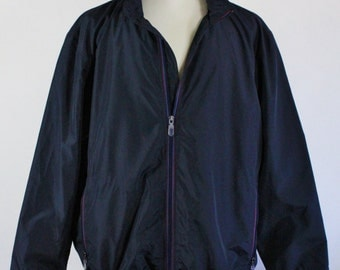 Mens Windbreaker. Mens Jacket. Black With Attached Hoodie. Golf Jacket. Vintage / Mens Size Xl. GOGOVINTAGE. FREE SHIPPING