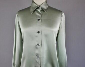 Vintage 90s Women's Sage Green Ellen Tracy Silk Long Sleeve Button Down Wear to Work Summer Fall Blouse Shirt