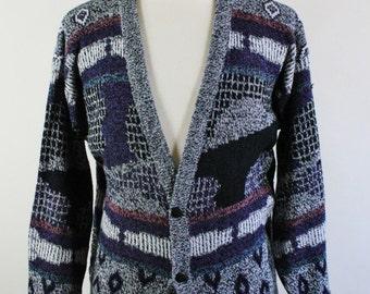 SALE - Vintage 80s Modern Abstract Cardigan Sweater - Mens Size Medium