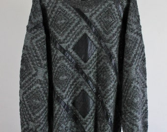 80s Sweater / Pullover Sweater / Geo Pattern Leather Trimmed  Sweater / Dark Gray Black Sweater / Vintage / Size Large / GOGOVINTAGE