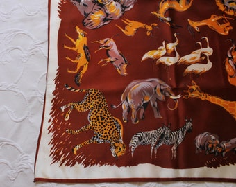 Vintage 50s 60s Women's Jungle Safari Animals Mid Century Modern Square Scarf