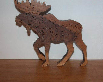 Walnut Moose Puzzle for Home or Office Decor