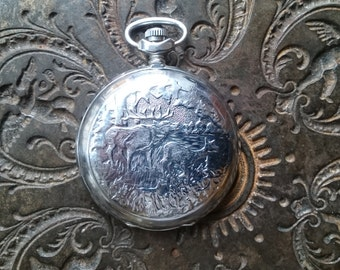 Pocket watch Molnija hunters watch gift for hunter deer hunting