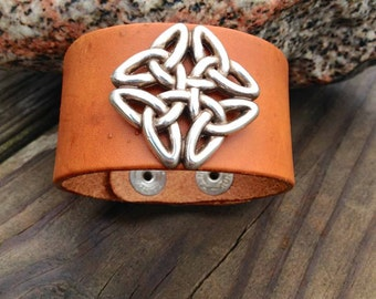 Square Celtic Knot Leather Cuff Bracelet ~ Adjustable for Men and Women