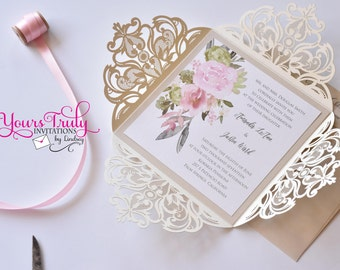 Romantic Desert Flowers Laser Cut Wedding or Party Invitation Suite Custom in Your colors