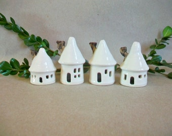 Little House Christmas Ornaments -Set of 4 - Small -  Porcelain  - Light weight- Handmade, Wheel Thrown