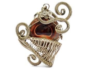 Fire Agate Pendant, Wire Wrap Pendant, Gothic Pendant, Gemstone Pendant, Agate Stone Pendant, Mexican Agate, Pendant Necklace, Agate Jewelry