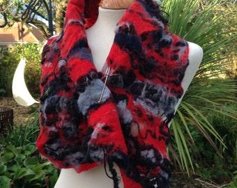 Felted wool neck warmer scarf collar in black red grey - felted artsy lagenlook art to wear gothic