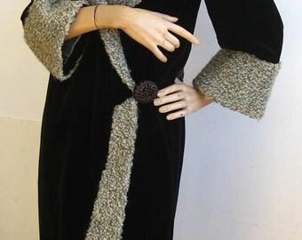 Vintage 20s Embroidered Black Velvet Astrakhan Fur Cocoon Wrap Afternoon Coat