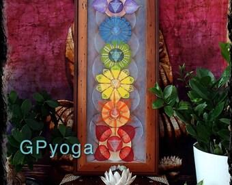Earthy Medium size Energy LOTUS CHAKRAS painting yoga art reiki energy spiritual YOGA painting framed painting prana print Rainbow GPyoga