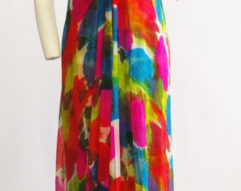 NEW 1970s Malcolm Starr Silk Chiffon Maxi Dress  Small