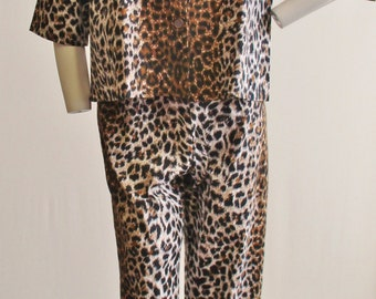 1950s Leopard Print Corduroy Lounge Outfit/Jammies Size Small