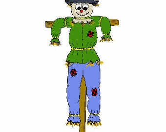 Scarecrow digital embroidery design, Scarecrow digitized embroidery design