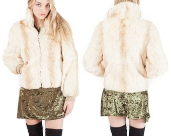 70's Vintage Cream Rabbit Fur Bomber Lined Zip Up Bomber Jacket Coat
