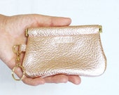 Reserved listing for Heather_Leather Flex Frame Wallet with Strap - Gold Pink