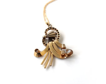 Antique Art Deco Gold Filled Ribbon Pendant With Garnet Stones c.1920