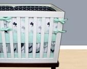 Baby Bedding Moose, Crib Bedding, Mint Navy Gray Tribal Moose Feather Crib Bedding, Baby Boy Woodland Nursery Set, Arrow Nursery Bedding