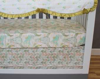 Arrow Baby Bedding Girl, Bumperless Crib Bedding Southwestern, Rail Guards, Skull, Chevron, Feathers Coral Mint Salmon Glitter Gold Ruffled