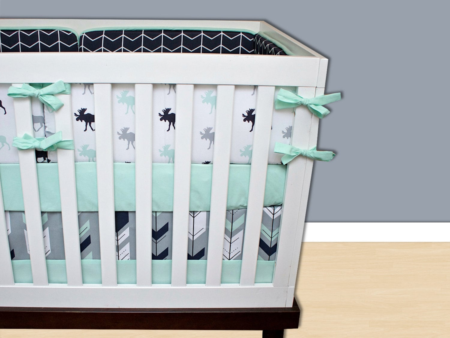 Moose 6 Piece Crib Set Navy And Grey Crib Bed...