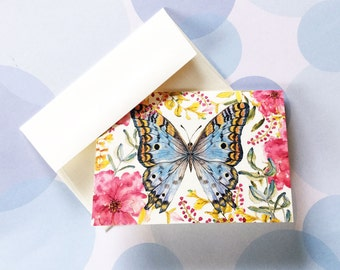 Butterfly Note Cards, Greeting Card, Stationery Set, Set of 8