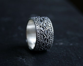 Lacey no 32 - sterling silver lace ring -  made to order in your size