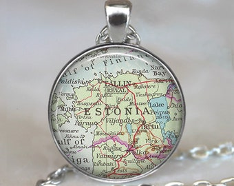 Estonia map necklace, Estonia necklace, Estonia map pendant, Estonia pendant, vintage map jewelry, map key chain, map key fob