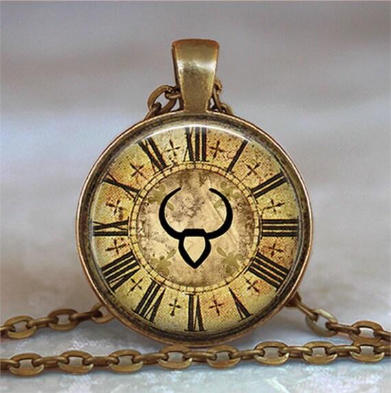 Steampunk Zodiac Taurus pendant, Taurus necklace, Zodiac necklace, Zodiac jewelry, Zodiac jewellery keychain key fob