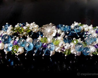 14k Multi Gemstone Bracelet, 14k Solid Gold Blue Topaz Bracelet