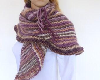 Plum Knit shawl Triangle knit Shawl Purple knit scarf Earthy Hand knitted wrap Knit Poncho