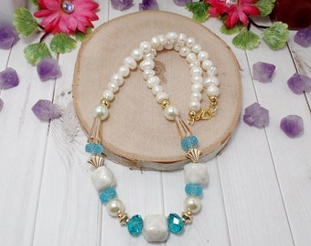 Boho Beach Necklace - Freshwater Pearl Necklace - OOAK - Statement Necklace