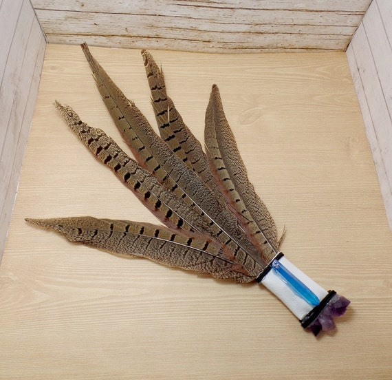 Brown Pheasant Feather Ceremonial Smudge Fan - Medium - Altar Fan - Feather Fan  - Discontinued