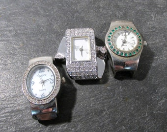 Watches for Parts or Repair Three (3) Watches Mechanical Movements Gears Jewels Face Plates Crystals Vintage Jewelry Art Supplies (N70)