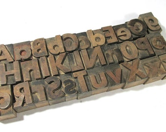 """Vintage Wooden Letterpress Type Blocks YOUR CHOICE 1"""" Chunky Upper and Lowercase Wood Letterpress Type Alphabet A-Z Assemblage Supply (F75)"""