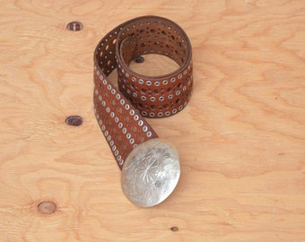 Vintage Moroccan Style Hips Belt Brown Leather Gypsy Hammered Dome Buckle Boho Belt Hippie Tribal