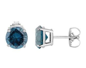 2.00 Carat Platinum Blue Diamond Stud Earrings Certified Handmade