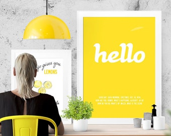 Hello - word / text typographic stylish matt poster print. Size: XL A1 841 x 594 mm - 33.1 x 23.4 in